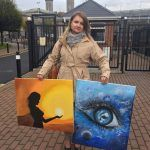Martha's sister with paintings by Martha